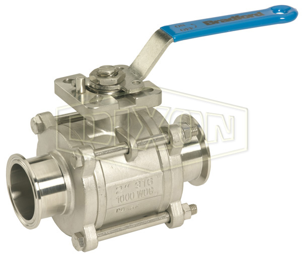 2-Way Encapsulated Sanitary 3 Piece Stainless Steel Ball Valve