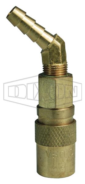 DQC CM-Series Industrial Mold Interchange Valved Coupler 45° Hose Barb