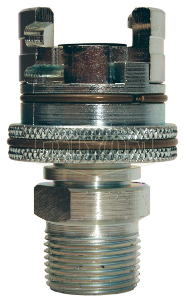 Dual-Lock™ P-Series Thor Interchange Male Thread Coupler with Knurled Flanged Sleeve