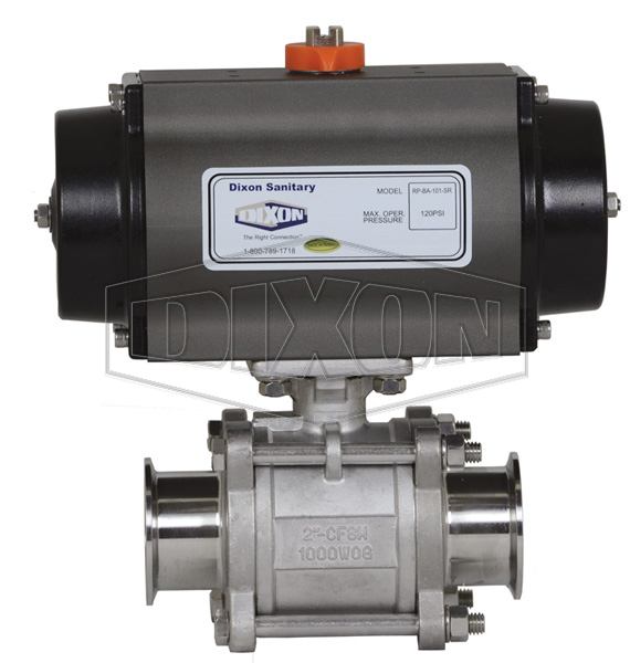 Pneumatically Actuated 3-Piece Sanitary Stainless Ball Valve