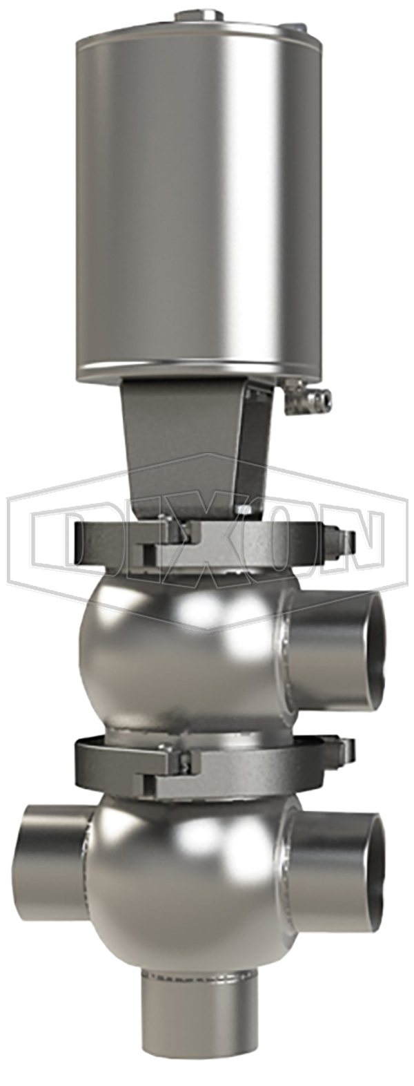 SSV Series Single Seat Valve, Divert LT Body, Weld, Spring Return Actuator (Air-To-Raise)